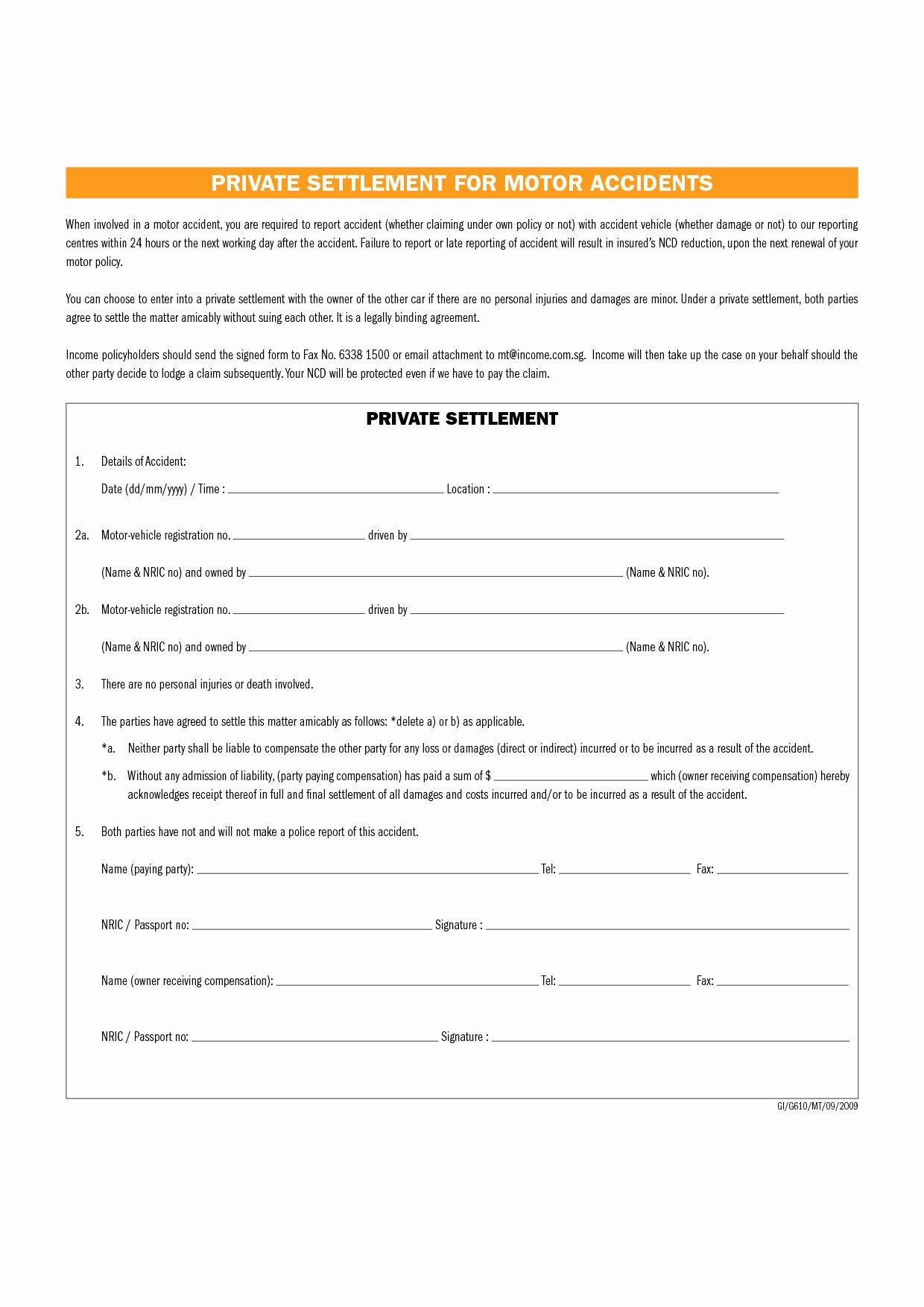 Car Accident Settlement Agreement form Elegant Full and Final Settlement Letter Template Car Accident