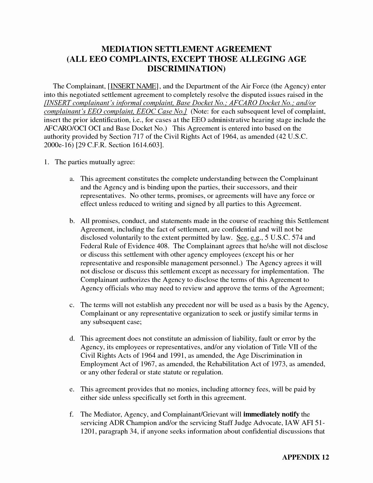Car Accident Settlement Agreement form Fresh Sample Mediation Settlement Agreement the Best
