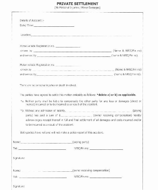 Car Accident Settlement Agreement form Lovely Car Accident Settlement Agreement Letter Template
