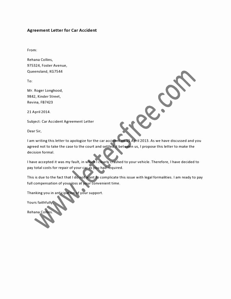 Car Accident Settlement Agreement Letter Best Of Draft An Agreement Letter for Car Accident by Using the