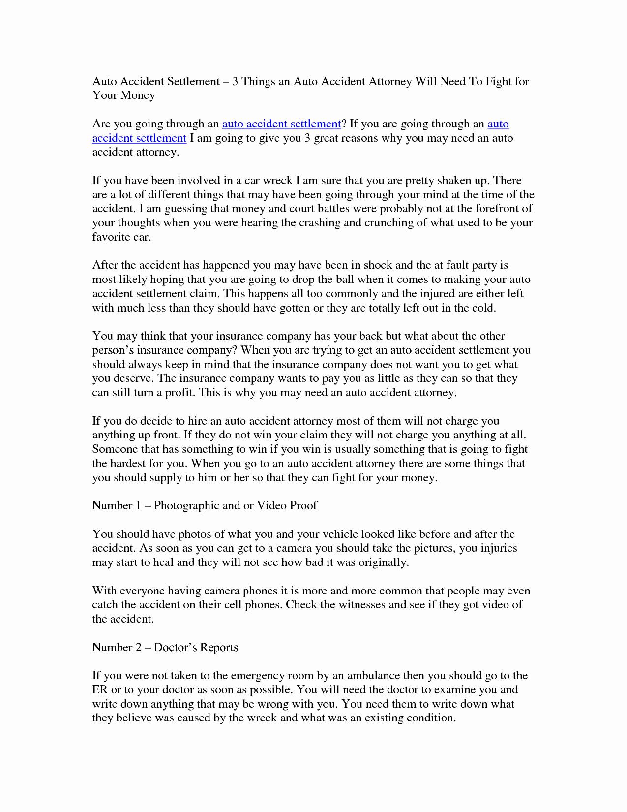 Car Accident Settlement Agreement Letter Fresh Best S Of Car Accident Demand Letter Sample Sample