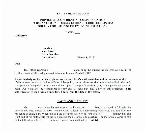 Car Accident Settlement Agreement Letter Fresh Car Accident Private Settlement Letter Template