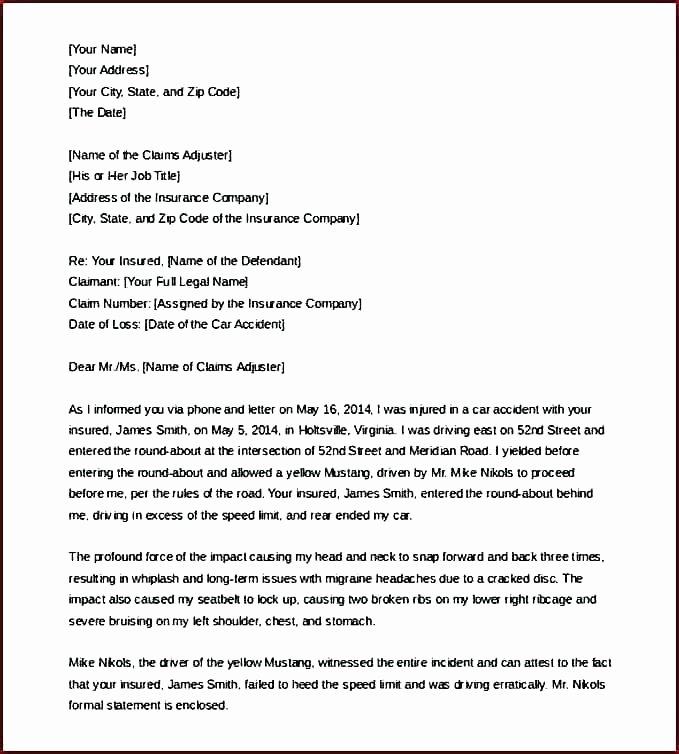Car Accident Settlement Agreement Letter Fresh Claim Settlement Letter Sample How to Write An Effective
