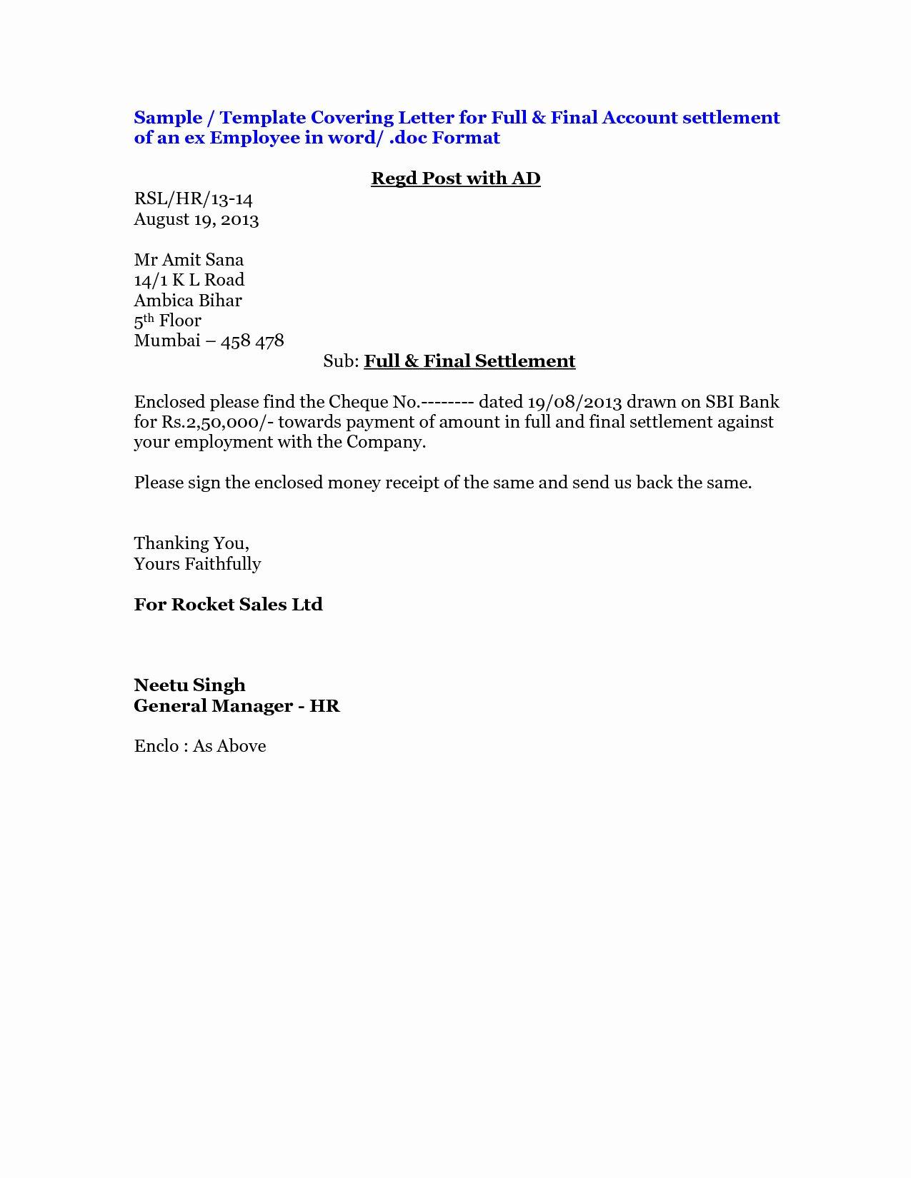 Car Accident Settlement Agreement Letter Unique Full and Final Settlement Letter Template Car Accident