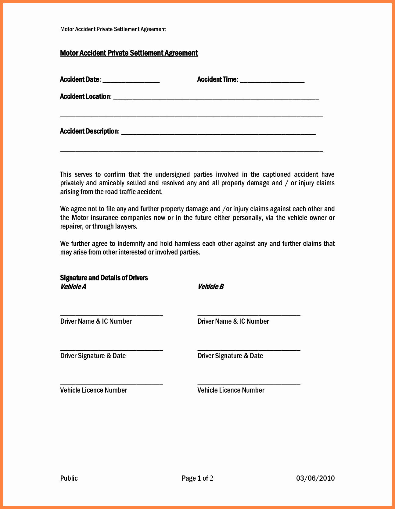 Car Accident Settlement Agreement Sample Best Of 4 Settlement Agreement and Release