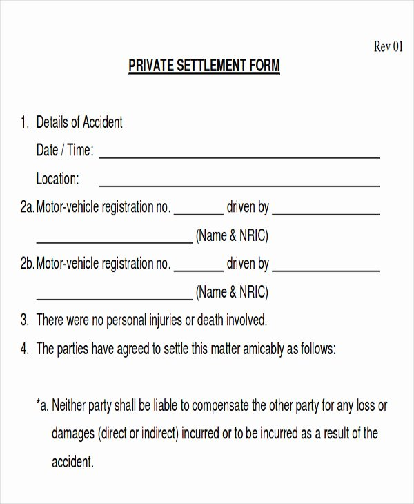 Car Accident Settlement Agreement Sample New Sample Insurance Release form 9 Examples In Word Pdf