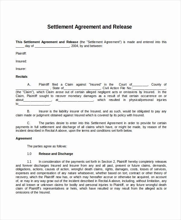 Car Accident Settlement Agreement Sample Unique 22 Agreement Templates Free Sample Example format