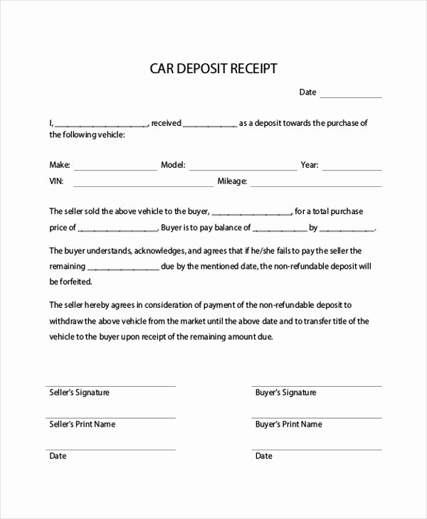 Car Deposit Agreement Beautiful Down Payment Receipt Sample 16 Examples In Word Pdf