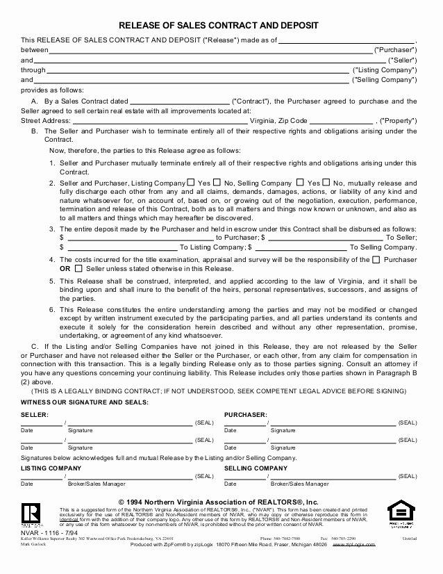 Car Deposit Agreement Elegant Release Of Sales Contract Deposit Old