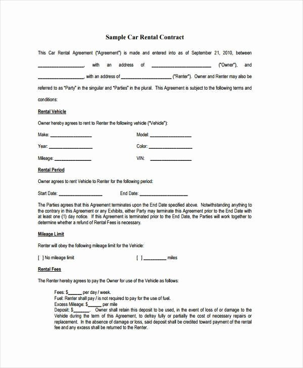 Car Deposit Agreement Fresh Sample Contract forms