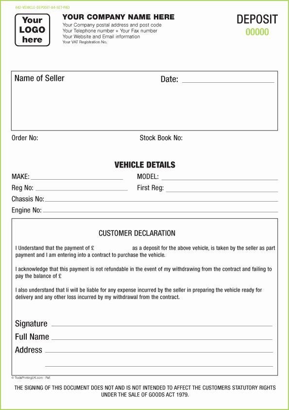 Car Deposit Agreement Inspirational Vehicle Appraisal Pad Templates Ncr Pad