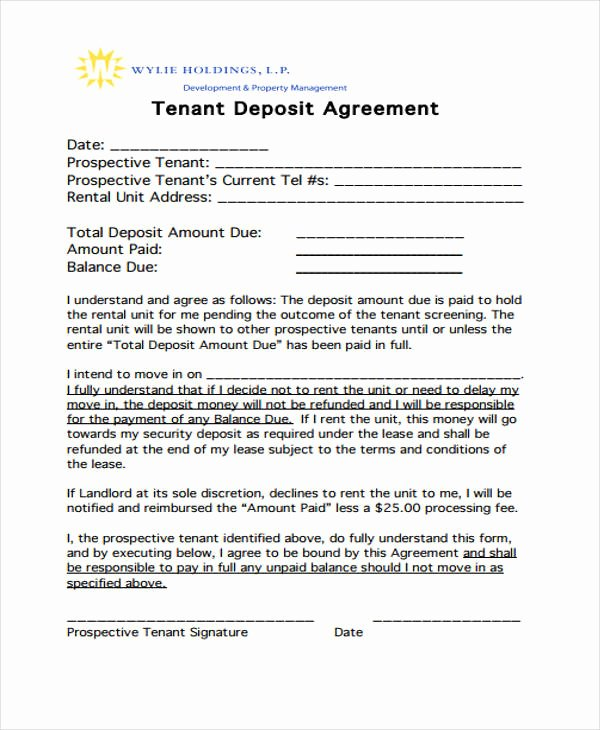 Car Deposit Contract Beautiful 11 Deposit Agreement Templates Pdf Word