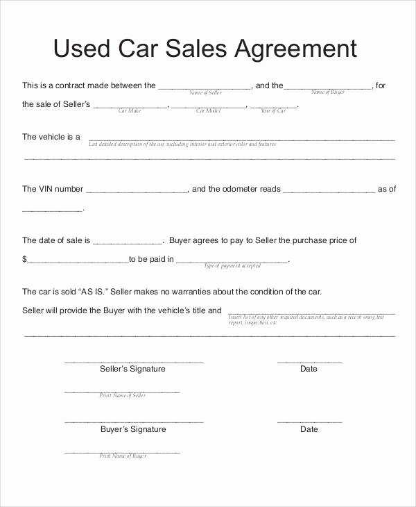 Car Deposit Contract Fresh Used Car Sales Agreement