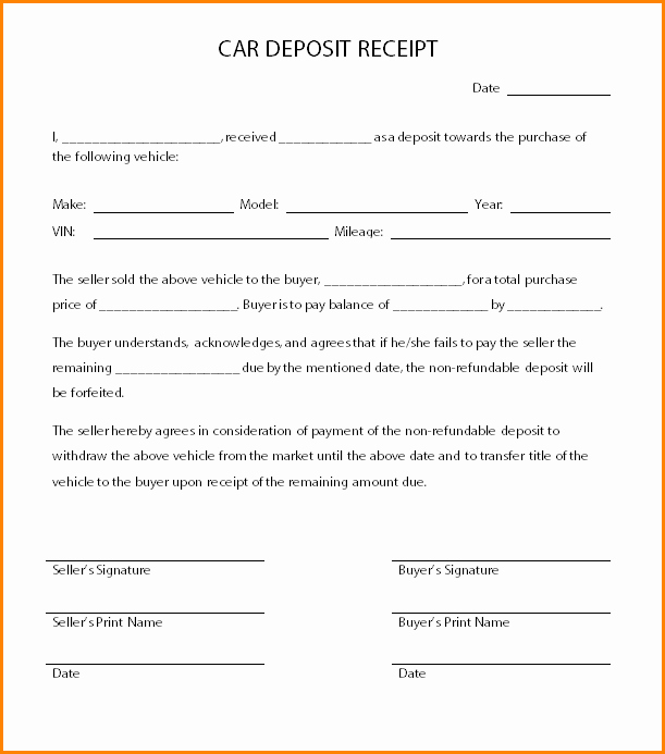 Car Deposit Contract Template Awesome 8 Receipt for Car Sale