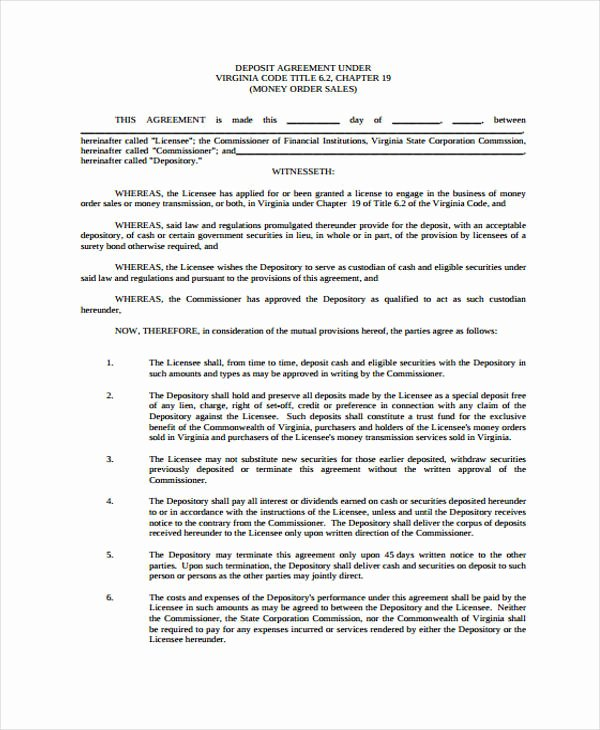 Car Deposit Contract Template Best Of 11 Deposit Agreement Templates Pdf Word
