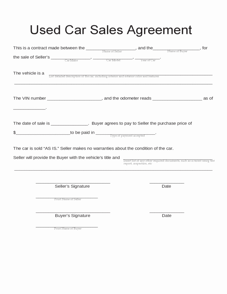 Car Deposit Contract Template Best Of Blank Used Car Sales Agreement Free Download