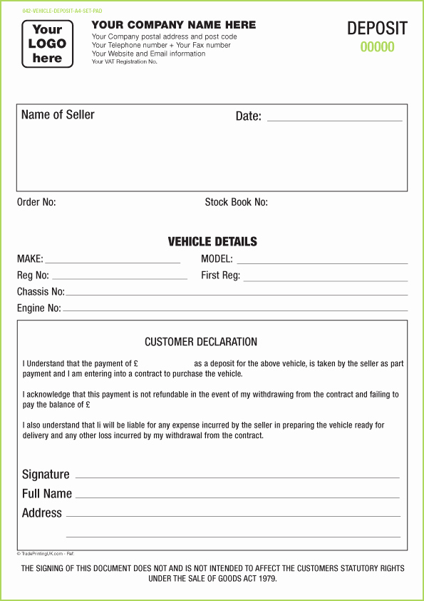 Car Deposit Contract Template Elegant Vehicle Appraisal Pad Templates Ncr Pad