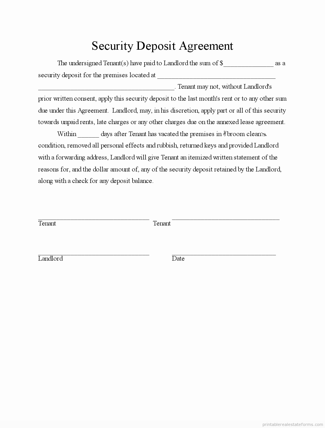 Car Deposit Contract Template Fresh Printable Security Deposit Agreement 3 Template 2015