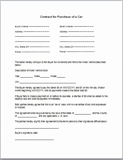 Car Deposit Contract Template Luxury Car Purchase Contract Template