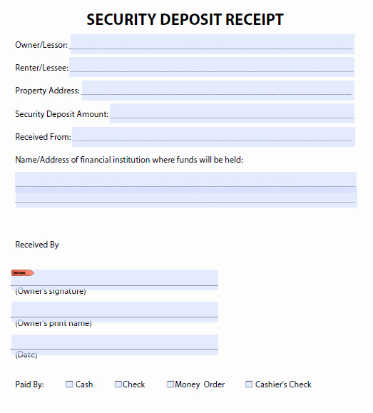 Car Deposit Receipt Word Awesome Security Deposit Receipt Templates Find Word Templates