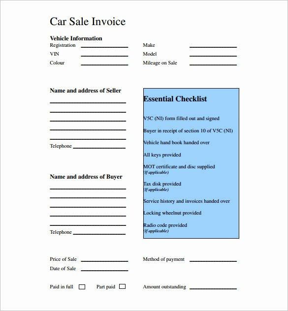 Car Deposit Receipt Word Luxury Used Car Sales Invoice Template Uk