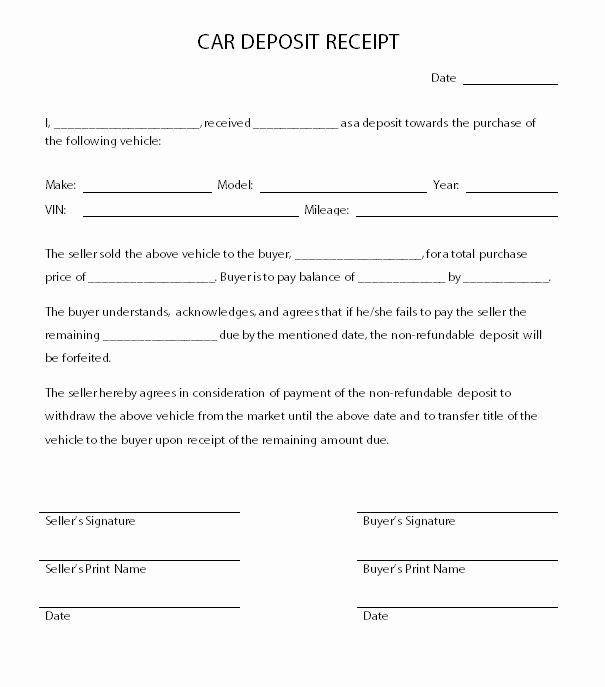 Car Deposit Receipt Word New Car Deposit Receipt Car Agreement
