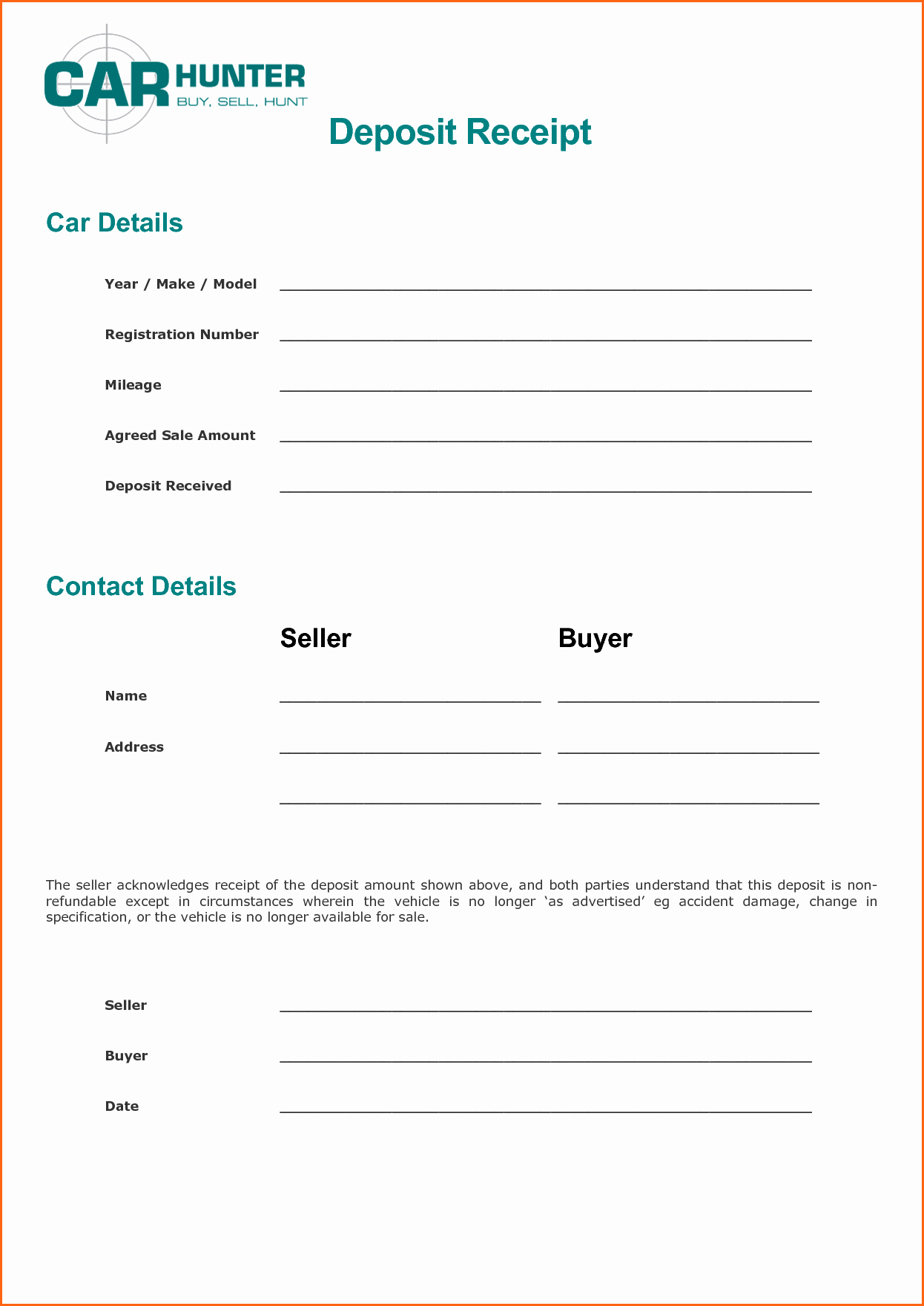 Car Deposit Receipt Word Unique Deposit Car Receipt