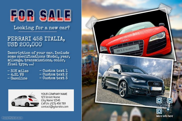 Car for Sale Flyer Template Awesome Car for Sale Flyer Vintage Style Template