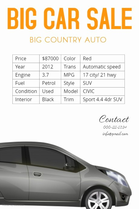 Car for Sale Flyer Template Awesome Car Sale Flyer Template