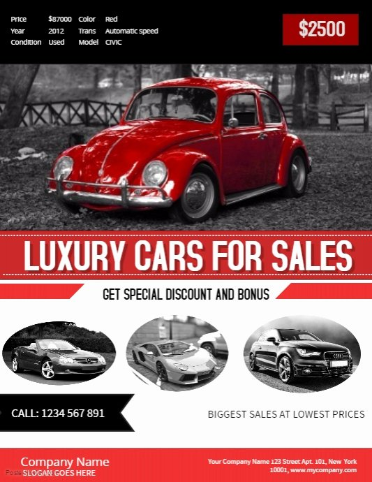 Car for Sale Flyer Template Fresh Red Car Sale Poster Template