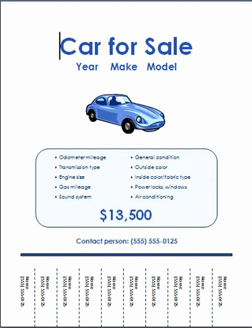 Car for Sale Flyer Template Inspirational 5 Free Car for Sale Flyer Templates Excel Pdf formats