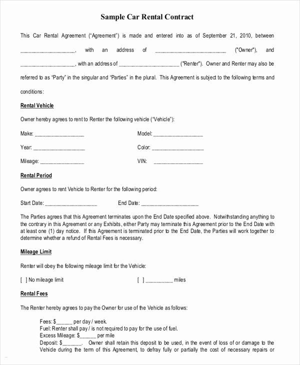 Car Payment Contract Template Fresh 17 Car Rental Agreement Templates Free Word Pdf format