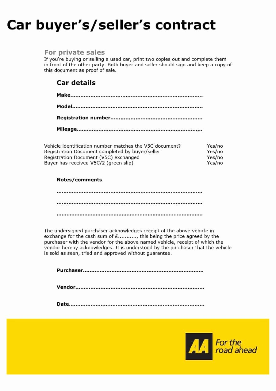 Car Payment Contract Template Inspirational 42 Printable Vehicle Purchase Agreement Templates