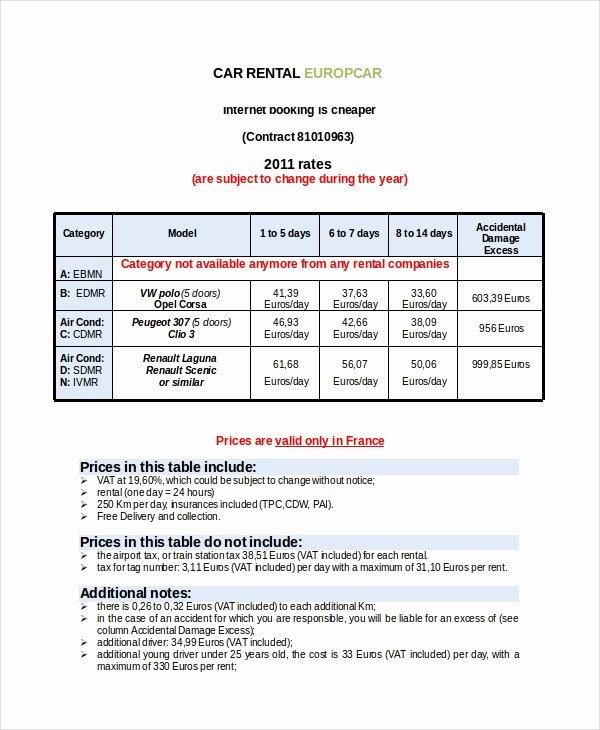 Car Rental Receipt Template Elegant Rental Invoice Template 17 Free Word Pdf Document