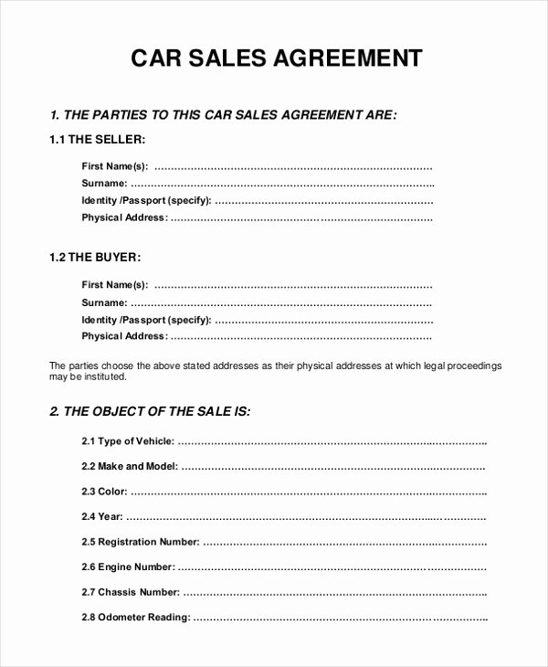 Car Sale Contract Template Awesome 10 Sample Sales Agreement forms Free Sample Example