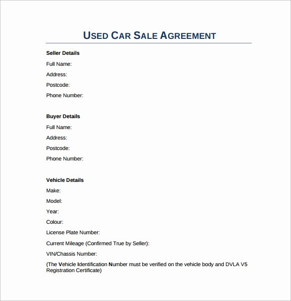 Car Sale Contract Template Fresh 15 Sample Downloadable Sales Agreement Templates