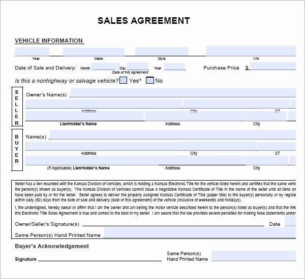 Car Sale Contract Template New Sales Agreement 6 Free Pdf Doc Download