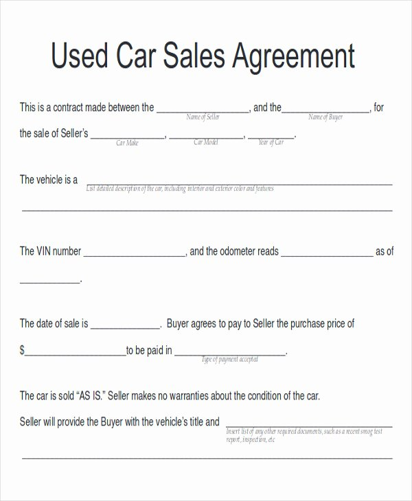 Car Sale Contract Template New Sample Car Sales Contract 12 Examples In Word Pdf