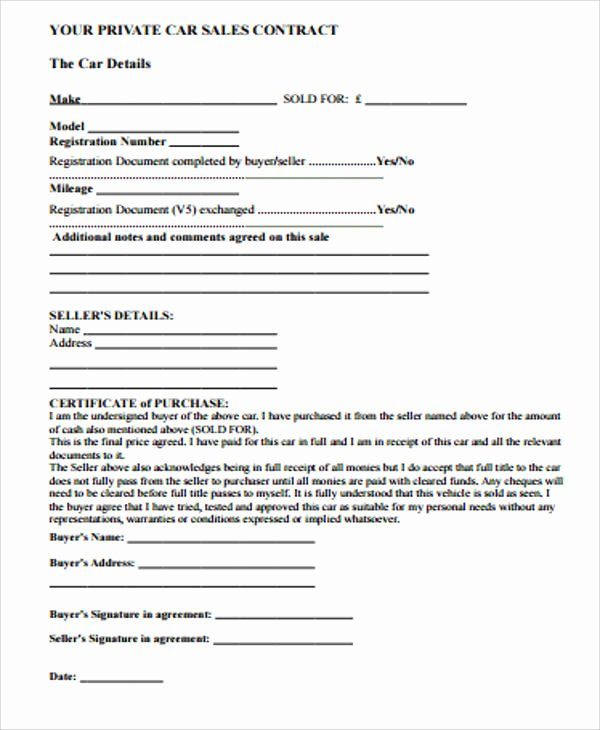 Car Sale Contract Template New Simple Sales Contract Sample 10 Examples In Word Pdf