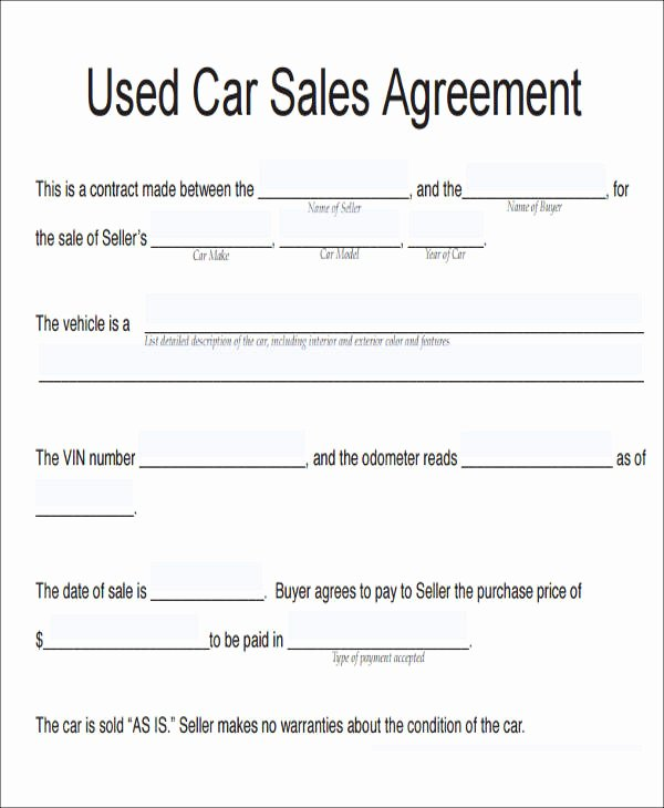 Car Sale Contract Template Unique 11 Vehicle Sales Agreement Samples Free Word Pdf