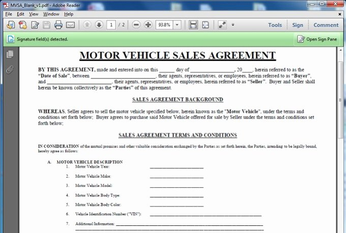 Car Sale Contract with Payments Awesome Give You A Motor Vehicle Sales Contract Template