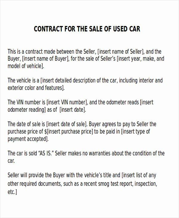 Car Sale Contract with Payments New Sample Car Sales Contract 12 Examples In Word Pdf