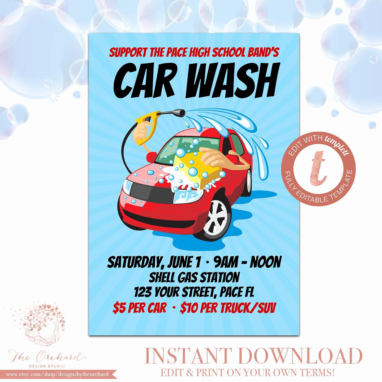 Car Wash Fundraiser Flyers Beautiful Car Wash Flyer Fundraiser Church School Munity Sports