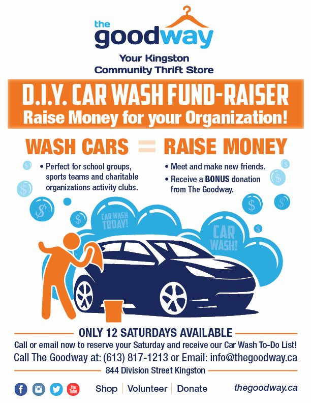 Car Wash Fundraiser Flyers Fresh the Goodway Your Kingston Munity Thrift Store