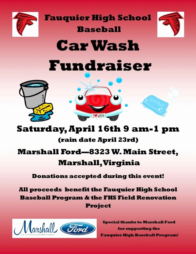 Car Wash Fundraiser Flyers New Fauquier High Baseball Car Wash Fundraiser