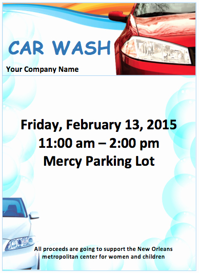 Car Wash Fundraiser Template New Car Wash Flyer Template Free Flyer Templates