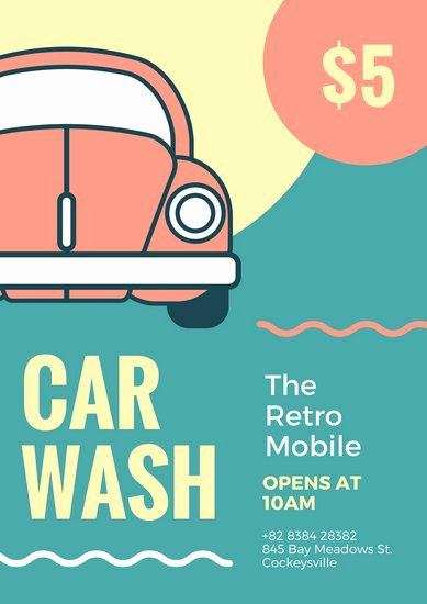 Car Wash Ticket Template Lovely Customize 158 Car Wash Poster Templates Online Canva