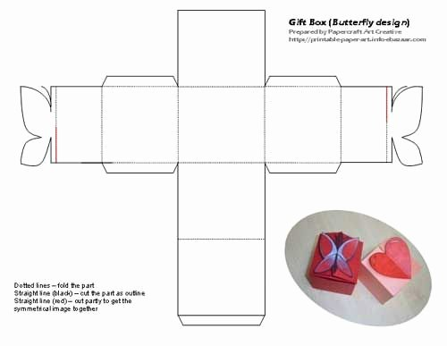 Cardboard Box Template Generator Elegant Printable butterfly and Heart Shaped Tiny T Box