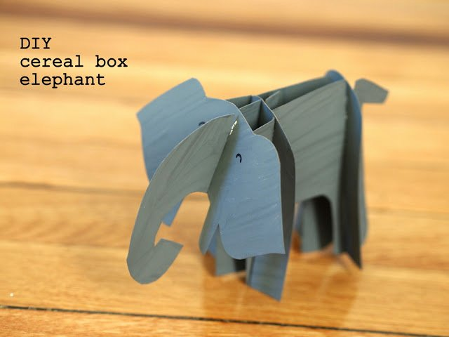 Cardboard Elephant Head Template Awesome Crapty Cardboard Cereal Box Elephant