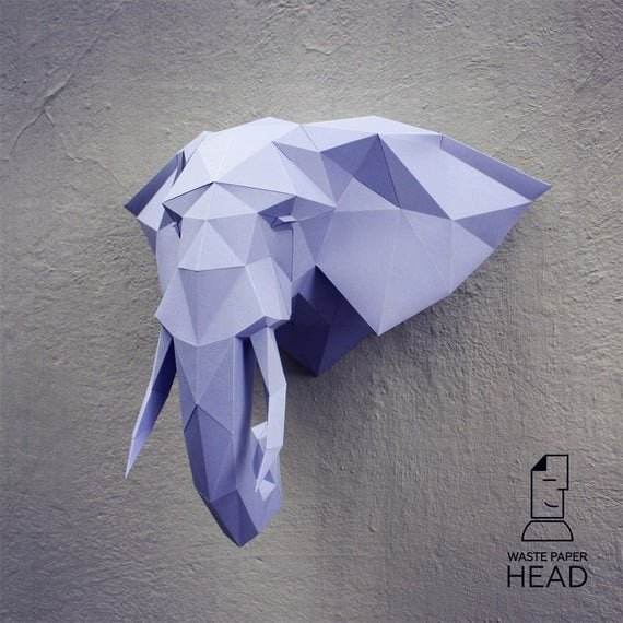 Cardboard Elephant Head Template Awesome Papercraft Elephant Head 2 Printable Diy by Wastepaperhead